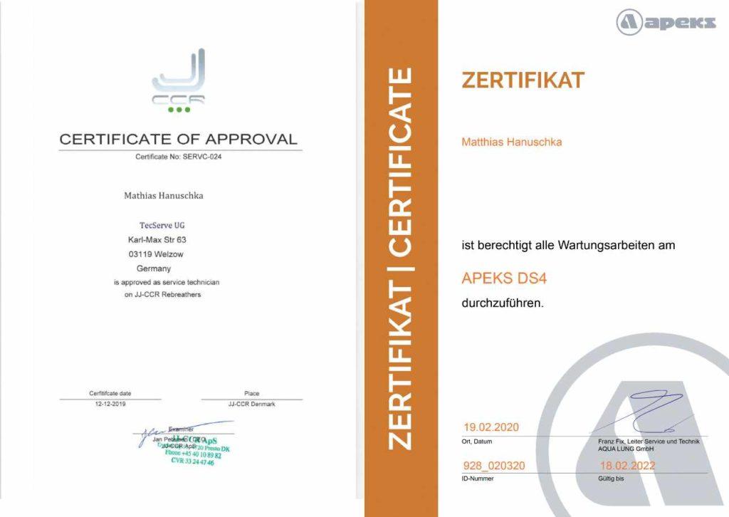 Service Center Zertifikat